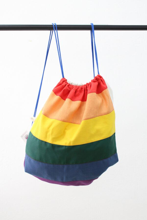 sacca a spalla - arcobaleno - sartoria sociale
