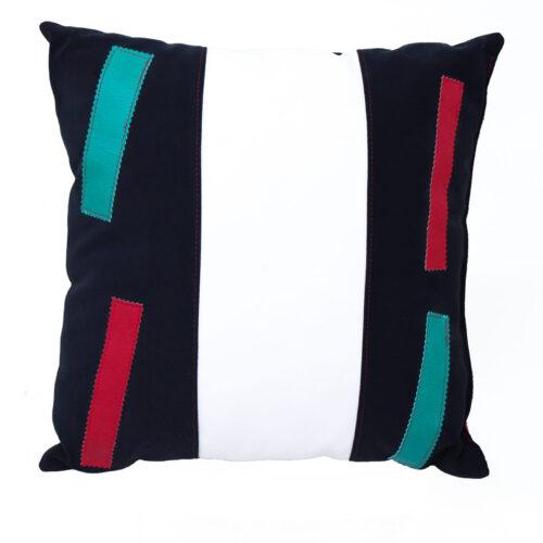 cuscino bianco nero verde rosso - sartoria sociale - palermo