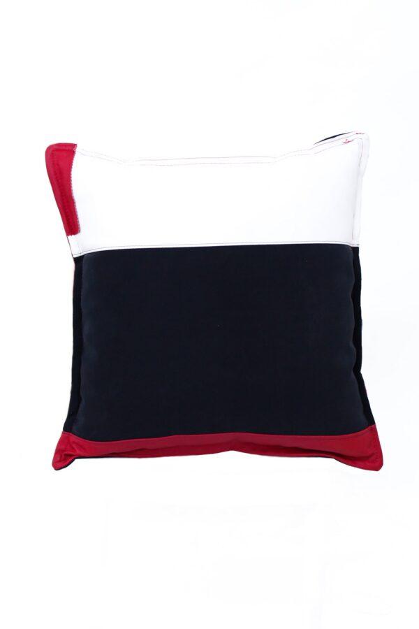 cuscino nero con strisce colorate - sartoria sociale palermo