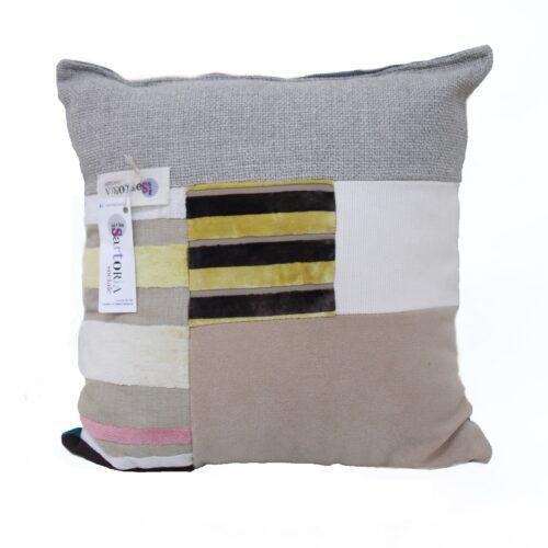 cuscino multicolor - grigio avorio - dorato - sartoria sociale
