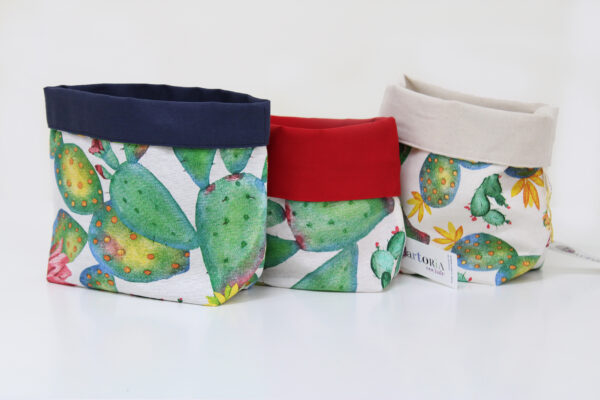 cestino di stoffa - fichi d'india - sartoria sociale
