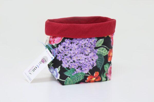 Cestino di stoffa - fiori viola - sartoria sociale - palermo