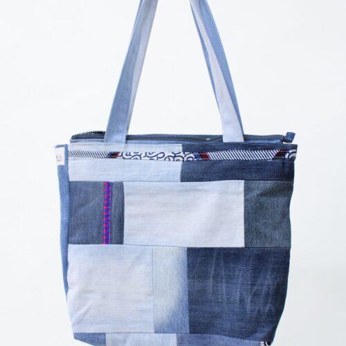 Borsa patchwork di jeans - sartoria sociale - moda etica