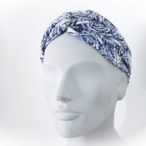 fascia per capelli bianca e blu - sartoria sociale - moda sostenibile