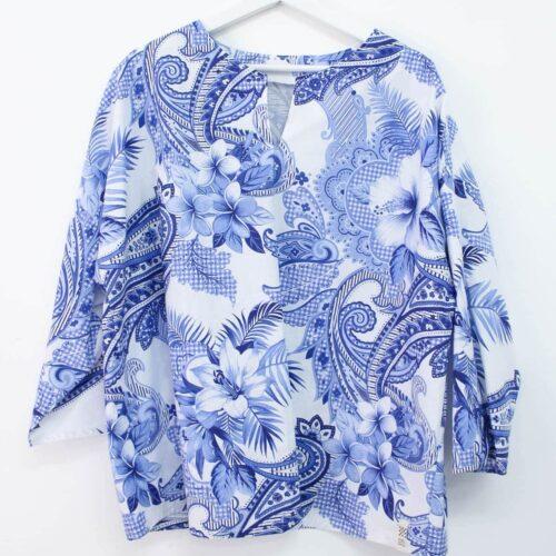 Casacca con fiori blu - sartoria sociale - abbigliamento sostenibile