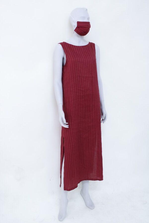 abito lungo bordeaux Eolie - Sartoria Sociale - moda sostenibile - Palermo