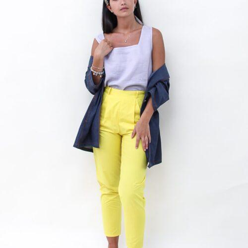 Pantalone giallo - sartoria sociale - abbigliamento sostenibile
