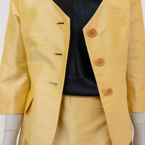 tailleur 100% seta color ocra - abiti vintage online - Sartoria Sociale Palermo