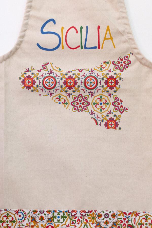 Grembiule da cucina con stampa siciliana - Sartoria Sociale