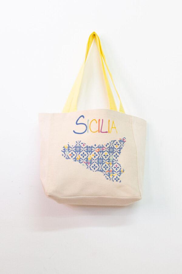 Tote bag con stampa siciliana blu - Sartoria Sociale shop online