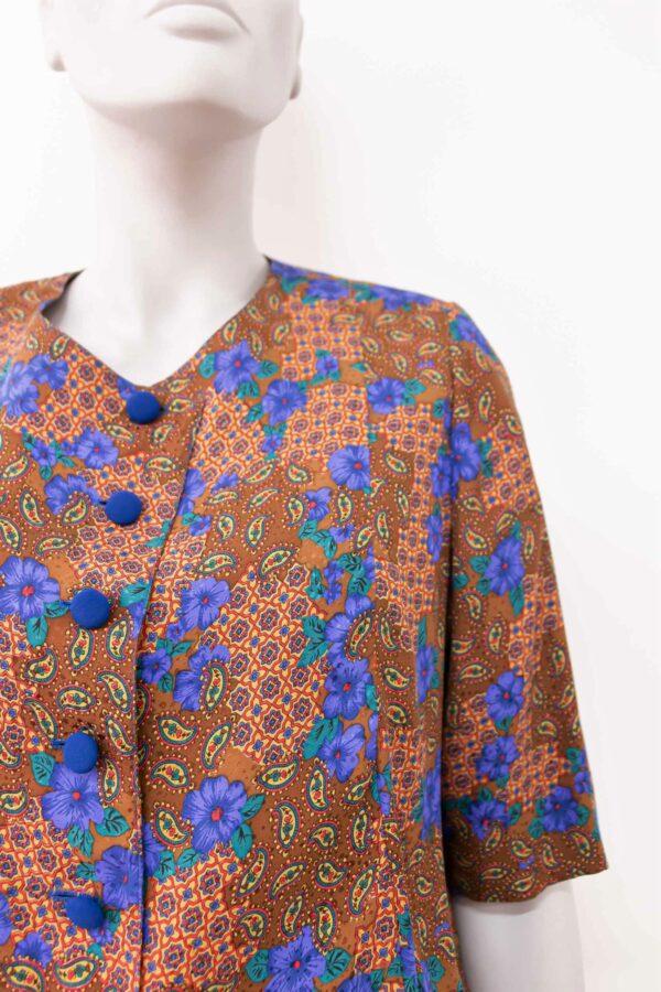 casacca marrone e blu - sartoria sociale - abiti sostenibili online