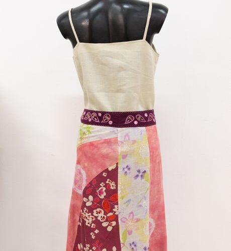 gonna multicolor con fiori - sartoria sociale